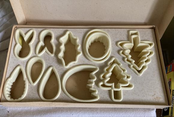 1950s xmas and Easter biscuit cutters , boxed and unused