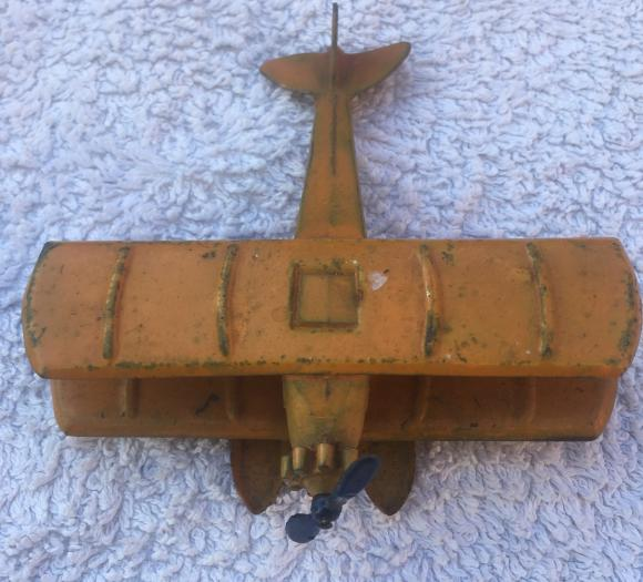 1950s british made tin plate biplane sea plane