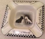 rare vintage  5 X 5 ceramic black & white whisky ashtray
