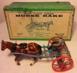 c1930's britains home farm horse rake 8f (boxed)