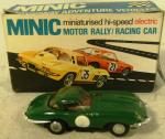 1960's triang minic e type jaguar slot car ( boxed  )