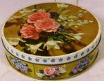 1960's peek frean carnation & lillies collectable biscuit tin