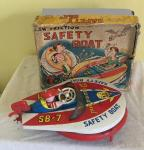 c1960s Japanese tin plate  friction safety boat boxed