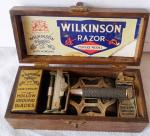 early wooden cased wilkinson razor set