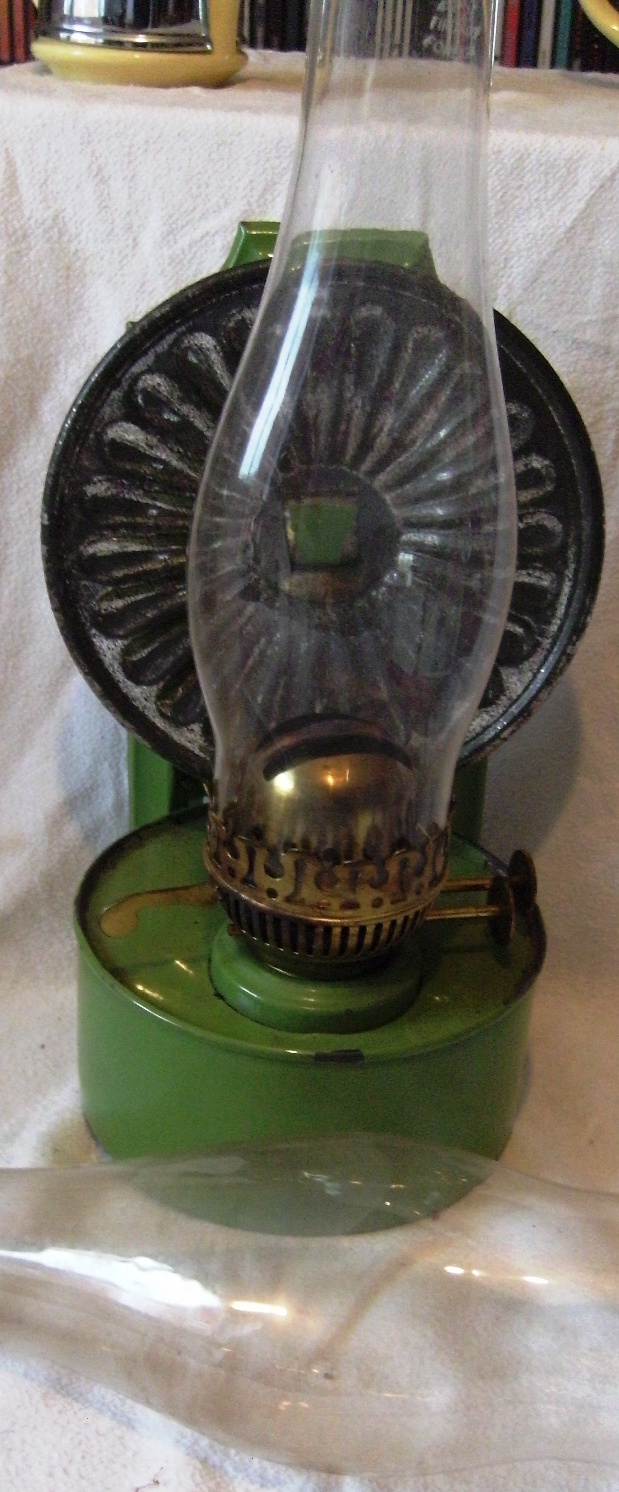 vintage pressed tin wall mounted paraffin lamp Severn Beach Antiques